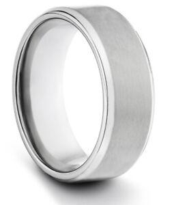 TungstenMasters 8MM/6MM/4MM TITANIUM Mens/Womens Matte Silver Wedding Band Ring