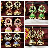 Indian Ethnic Meenakari Kundan Multi Earring Jhumki Fashion Bollywood Jewelry