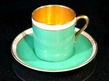 Beautiful Crown Devon Fieldings Green And Gold Demitasse And Saucer