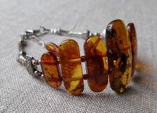 7,5-8,4inch Vintage Elegant Genuine Baltic Amber Cognac Bracelet Tibet Silver