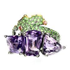 Handmade 15.61ct Amethyst Pink Sapphire Tsavorite Garnet  925 Silver Ring 8.5