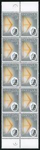 SWAZILAND SG91w 1962-66 1c yellow-orangs and black WMK INVERTED block of 10 U/M