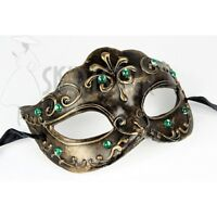 Jacobson Hat Company Women's Venetian Mask with Green Stones, Gold, Adult