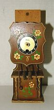 "VTG Miniature Grandfather Clock~Heco~Germany~Wooden Hand Painted 7 3/4"" tall"