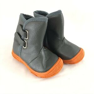 Toddler Boys Boots Faux Leather Faux Fur Lined Gray Orange Size 19 US 3