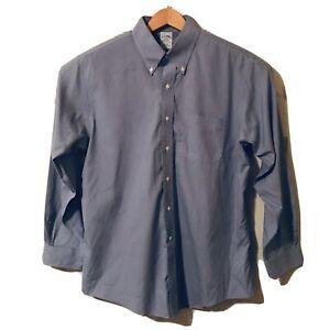 Brooks Brothers Mens Dress Shirt Non-Iron Slim fit  17-35 Oxford Blue Micro ck