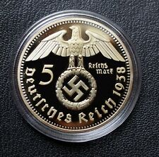 More details for ww2 german coin 5 reichsmark 1938 hindenburg golden plated in capsule