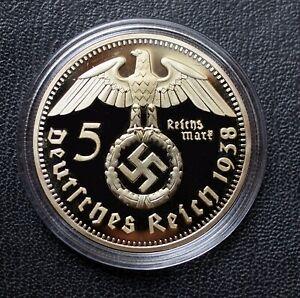 WW2 GERMAN COIN 5 REICHSMARK 1938 HINDENBURG GOLDEN PLATED IN CAPSULE