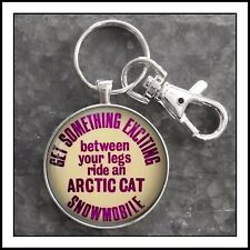 Vintage Arctic Cat Snowmobile Funny pin button photo Keychain 🎁