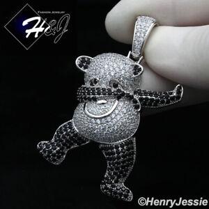 MEN 925 STERLING SILVER ICY DIAMOND SILVER/BLACK PANDA 3D CHARM PENDANT*SP319