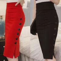 Women's Midi Pencil Skirt Ladies High Waisted Button Split Bodycon Office Skirts