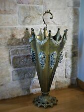 ANTIQUE VICTORIAN GOTHIC UMBRELLA STAND BRASS WITH GARGOYLE PROTECTORS 25x10 in.
