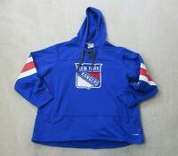 Reebok New York Rangers Sweater Adult 2XL XXL Blue White Hoodie Hockey Mens