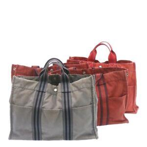 HERMES Fourre Tout MM Hand Bag Wallet 4Set Gray Red Cotton Auth se136