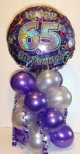 "18"" FOIL BALLOON TABLE DISPLAY DECORATION AGE 65 65TH BIRTHDAY SILVER & PURPLE"