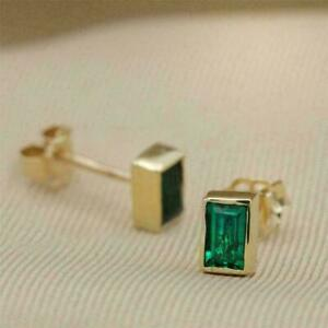 4Ct Emerald Cut Green Emerald Solitaire Stud Earrings In 14K Yellow Gold Finish