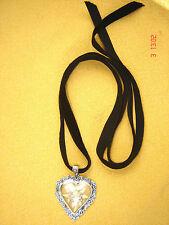 Samtband schwarz Anhänger  Herz mit echtes Edelweiß Trachtenband Dirndlkette