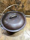 Vintage Cast Iron No 8 Dutch Oven w Original  Basting Lid / Lodge Camp Cookware