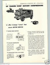 1957 PAPER AD 2 PG CP Chicago Pneumatic Power Vane Rotary Compressor Trailer