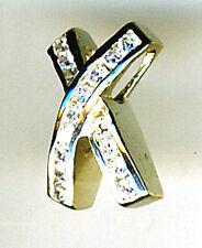 925 Sterling Silver Cubic Zirconia Cross Kiss Pendant Hidden Bail Length 16mm