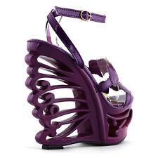 Black/Purple Heart Bride Wedding EVE Wedge Butterfly Heel Sandals Size 4/5/6/7/8