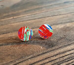 Circle Stud Earrings Red Green White Blue mix Stainless Steel Earrings