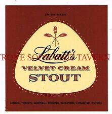 Canada Labatt's Velvet Cream Stout Beer label Tavern Trove