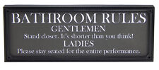 Bathroom Rules Funny Toilet Sign Shelf Sitter Home Wall Art Decor Print Plaque