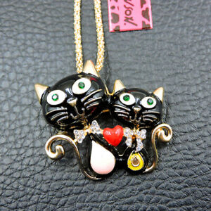 New Black Charm Enamel Crystal Cute Cat Betsey Johnson Pendant Necklace/Brooch