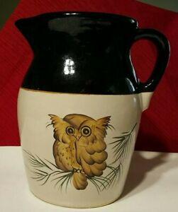 "R.R.P Roseville Pottery Black Owl Pitcher 8 1/2"" Signed Vintage 1980 EUC"