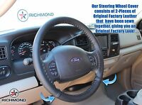 2005 Ford Excursion Limited Eddie Bauer-Leather Wrap Steering Wheel Cover, Black