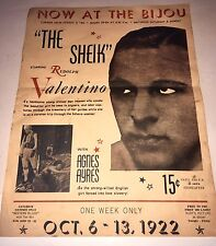 THE SHEIK 1922 ORIGINAL MOVIE POSTER Silent Picture $0.15 Rudolph Valentino OOP