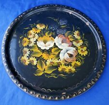 "Vintage Round Metal Toleware  Hand Painted Floral Tray☆14-3/8"" Diameter☆☆☆☆☆☆"