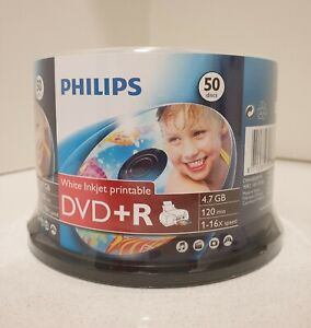 Philips DVD+R 4.7GB/16X - 50 Pack Spindle, White InkJet Printable