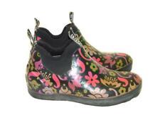 Bogs 8 Black Pink Dahlia Mattie Rain Shoes Rubber Ankle Boots Womens EU 39