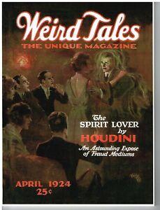 Weird Tales pulp replica facsimile, April 1924, bedsheet, Lovecraft, Houdini