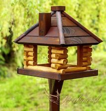 Feeding Wood House Station Garden Wooden Traditional Bird Table Feeder FREE GIFT