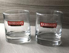 2 Kilbeggan Irish Whiskey Oval Shaped Base Lowball Rocks Glasses.