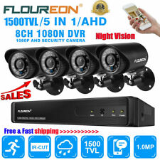 FLOUREON 8CH 1080N AHD DVR 4X Outdoor 1500TVL AHD CCTV IP Camera Security System