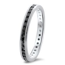 0.60ct AAA Black Diamonds Full Eternity Wedding Ring, 9K White Gold, Hallmarked