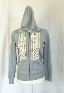 New W/Tags Anthropologie Mystree Louise Crochet Detail Gray Hooded Jacket Small