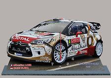 Sebastien LOEB,Citroen DS3 WRC, Rallye Monte Carlo 2015-04 en horloge miniature