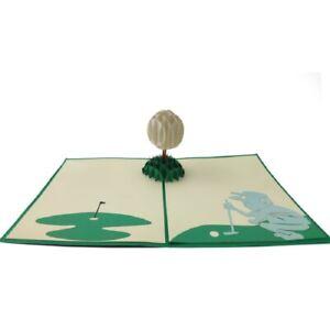 "Carol Wilson Fine Arts E1 5x7"" Pop Up Laser Cut Greeting Card - Golf Cart"