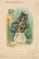 Louis Wain Signed Cat A Pretty Kettle of Fish - udb - 1905