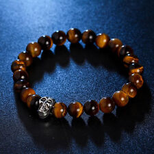DF4 Natural Stone Beads Marbled Brown & Silver Skull Stretch Bracelet