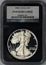 1988-S Silver Eagle PF 69 Ultra Cameo $1 NGC *Black Retro Slab* 25th Anniversary