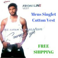Mens Singlet Cotton Sleeveless White Gym Casual Vest Tank Top - Rupa Frontline