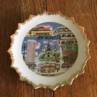 Vtg New Orleans souvenir plate ceramic gold trimmed Louisiana Bourbon Street