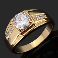 Rare Luxury Size 11 Halo White Topaz 10KT Gold Filled Women's Men's Bridal Ring