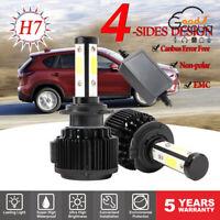 2* LED H7 4 Side CREE COB Headlight Bulbs Headlamp Error Free Canbus Decoder KIT